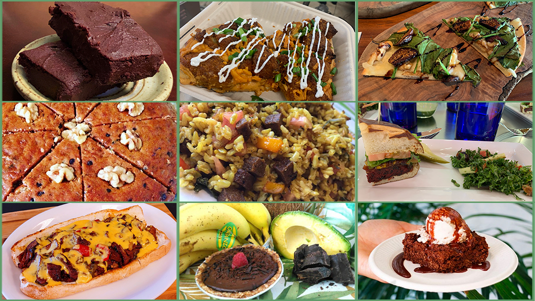Images of different vegan food